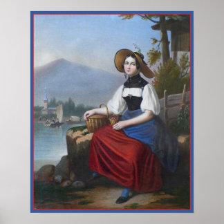 Chica campesino suizo hermoso en paisaje antiguo poster