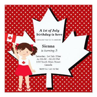 """Chica canadiense del cumpleaños invitación 5.25"""" x 5.25"""""""