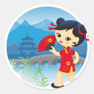 Chica chino pegatina redonda