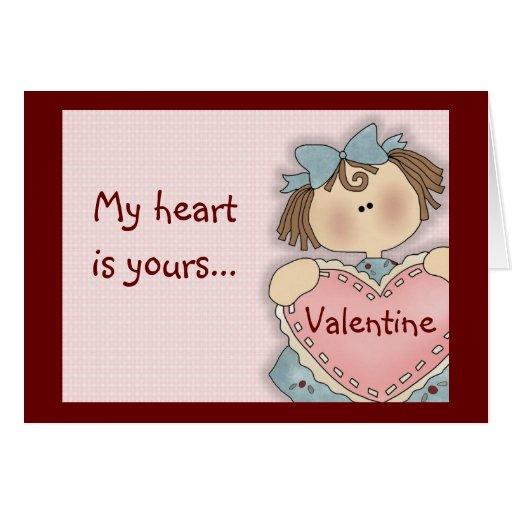 Chica cómico mi tarjeta del el día de San Valentín