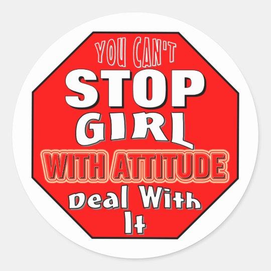Chica con actitud pegatina redonda