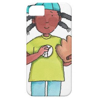 Chica con béisbol y el guante funda para iPhone SE/5/5s