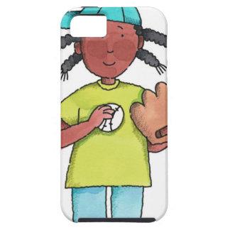 Chica con béisbol y el guante iPhone 5 funda