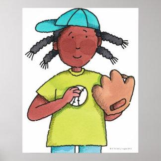 Chica con béisbol y el guante póster
