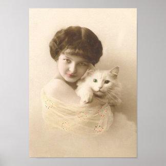 Chica con bella arte del vintage del gato póster