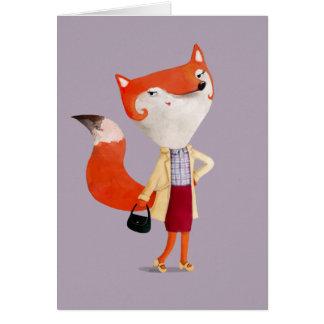 Chica con clase del Fox de la MOD Tarjeta De Felicitación