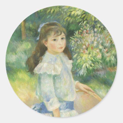 Chica con el aro de Pedro Renoir, bella arte del Pegatina Redonda