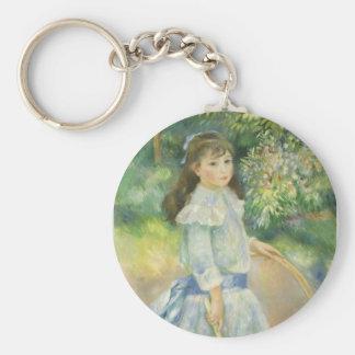 Chica con el aro, Renoir, arte del impresionismo Llavero Redondo Tipo Pin