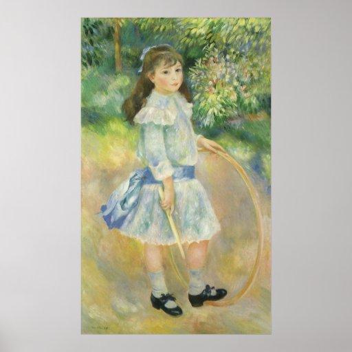 Chica con el aro, Renoir, arte del impresionismo Póster