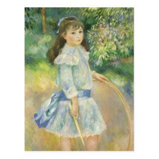 Chica con el aro Renoir arte del impresionismo Tarjeta Postal