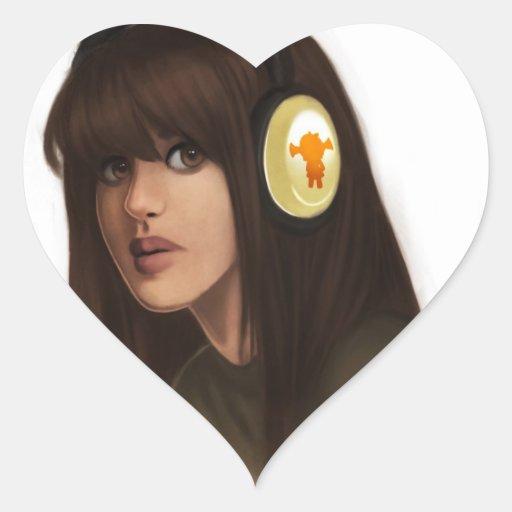 Chica con el arte de Digitaces del retrato de los Pegatina En Forma De Corazón