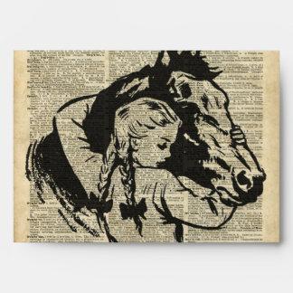 Chica con el caballo, página vieja del sobres