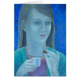 Chica con el chocolate 2011 tarjeta de felicitación