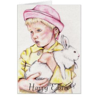 Chica con el conejito, Pascua feliz Tarjeta De Felicitación