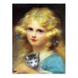 Chica con el gatito: Pintura del vintage de E. Cab Postales