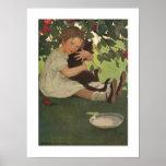 Chica con el gatito poster