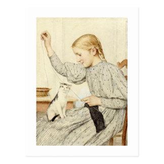 Chica con el gato, Albert Anker Postal