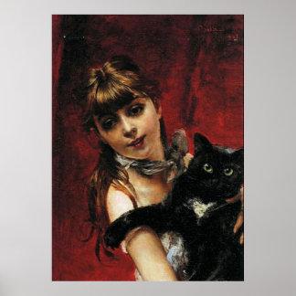 Chica con el gato negro - poster del arte de la re