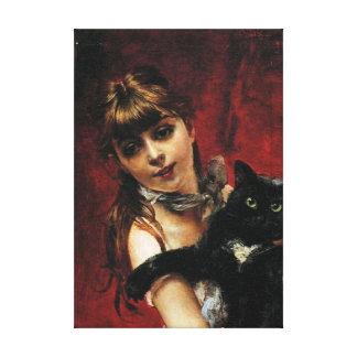 Chica con el gato negro - reproducción de la pintu lona estirada galerías