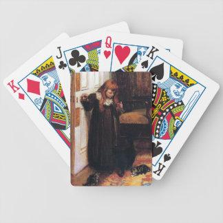 Chica con el gato negro y la pintura de los gatito baraja cartas de poker