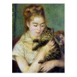 Chica con el gato por Renoir Postal