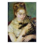 Chica con el gato por Renoir Tarjeta