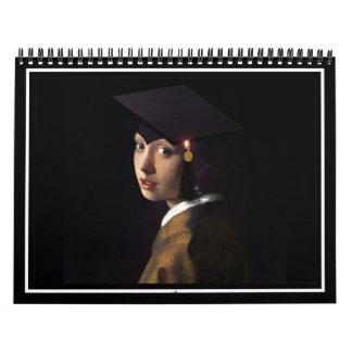 Chica con el gorra de la graduación (pendiente de calendario de pared