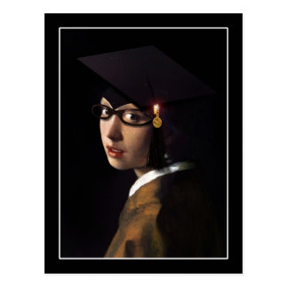 Chica con el gorra de la graduación (pendiente de  tarjetas postales