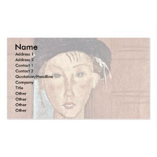 Chica con el gorra de Modigliani Amedeo Tarjetas De Visita