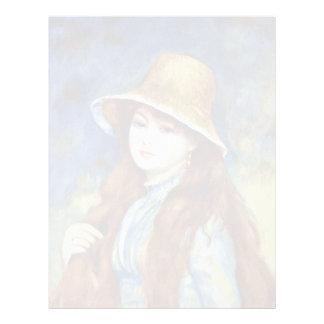Chica con el gorra de paja de Pierre-Auguste Membrete A Diseño