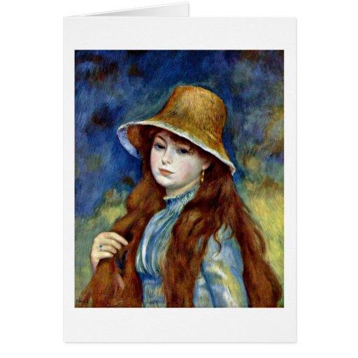 Chica con el gorra de paja de Pierre-Auguste Renoi Tarjetón