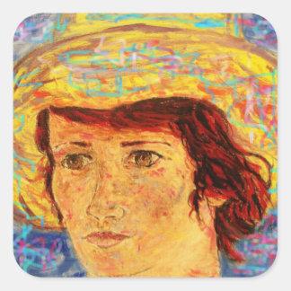 chica con el gorra de Van Gogh Pegatina Cuadrada