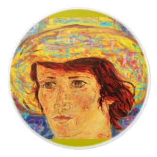 chica con el gorra de Van Gogh Pomo De Cerámica
