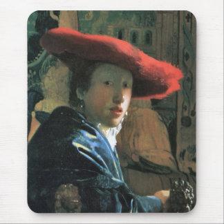 Chica con el gorra rojo de Juan Vermeer Alfombrilla De Ratón