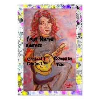 chica con el goteo rojo del pelo y del ukulele tarjetas de visita grandes
