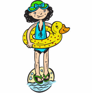 Chica con el juguete de la piscina escultura fotografica