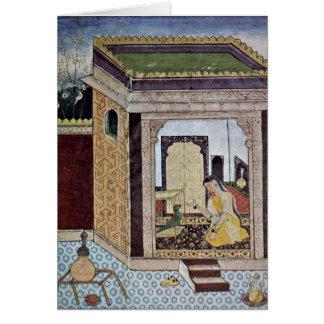Chica con el loro del pintor indio en 1580 felicitación