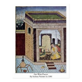 Chica con el loro del pintor indio en 1580 postales