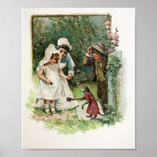 Chica con el mono del vintage póster