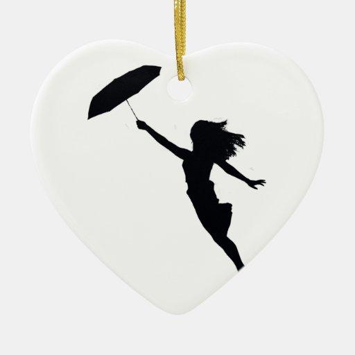 Chica con el paraguas negro ornamento de reyes magos