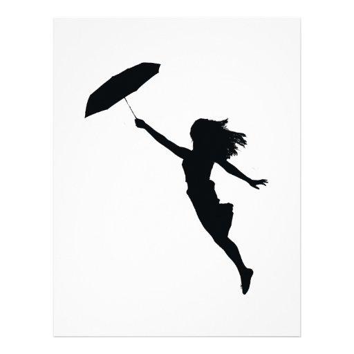 Chica con el paraguas negro membrete