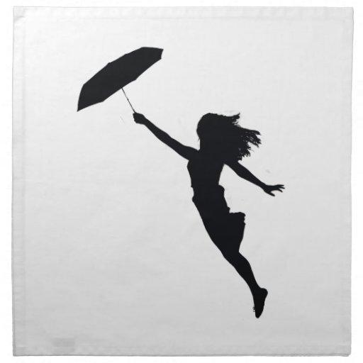 Chica con el paraguas negro servilleta de papel