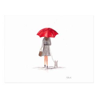 Chica con el paraguas rojo postal