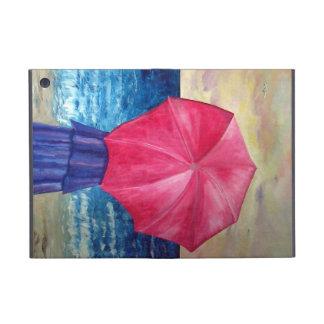 Chica con el paraguas rosado en la pintura de la p iPad mini cobertura