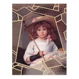 Chica con el parasol del cordón postal