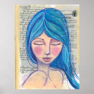 Chica con el pelo azul póster