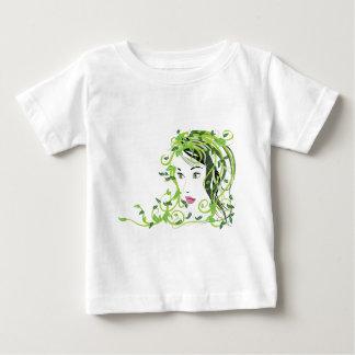 Chica con el pelo floral playera de bebé