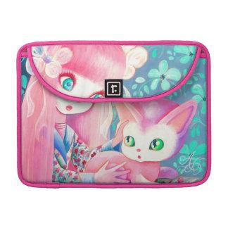 Chica con el pelo rosado en kimono con el gato de