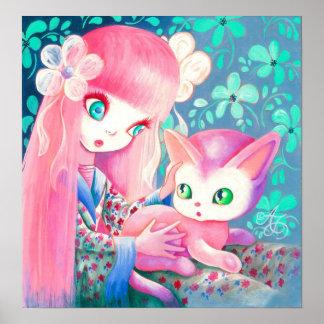 Chica con el pelo rosado en kimono con el gato de poster