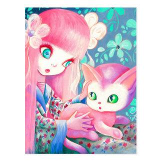 Chica con el pelo rosado en kimono con el gato de postales
